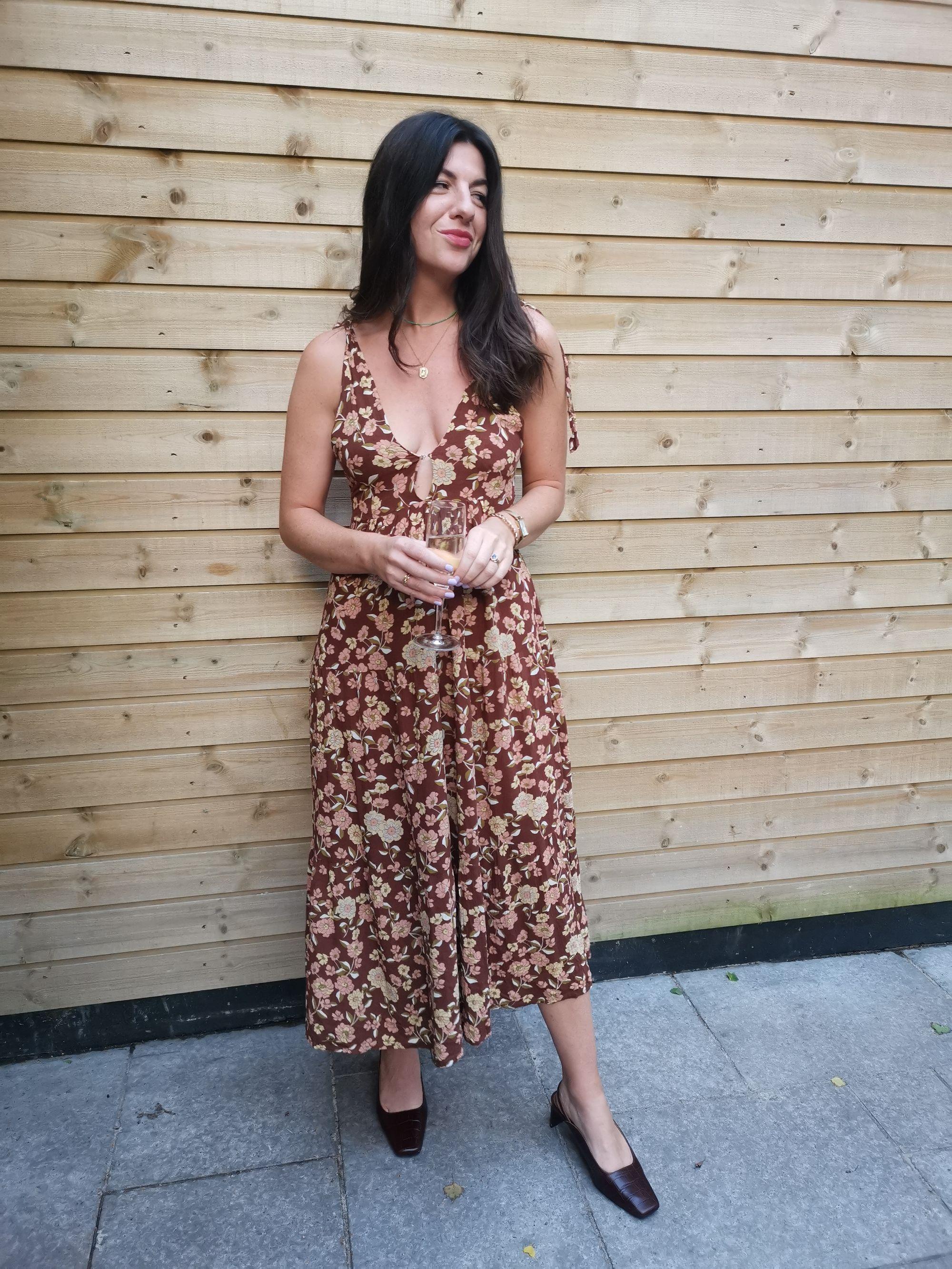 Francesca Saffari wearing Faithfull the brand rented dress